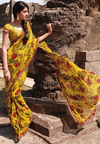 Kabiree:atisundar   appealing Printed Designer Saree with Border in Mustard   - 4491 - atisundar - 2