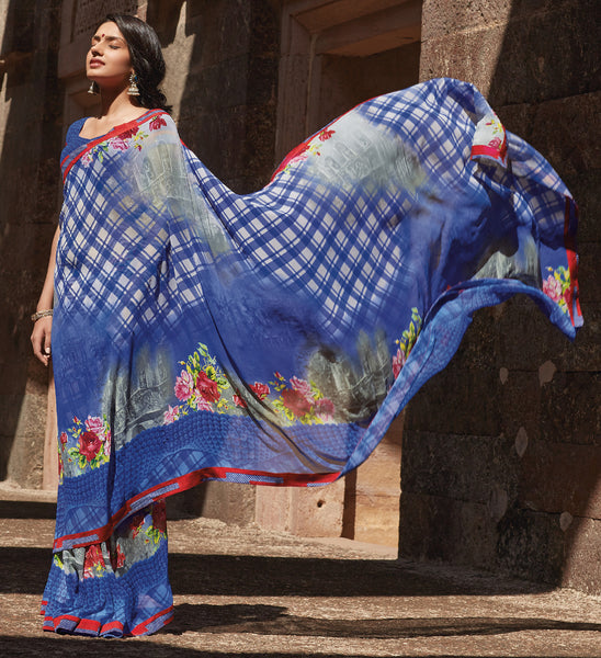 Kabiree:atisundar   refined Printed Designer Saree with Border in Royal Blue  - 4495 - atisundar - 3 - click to zoom