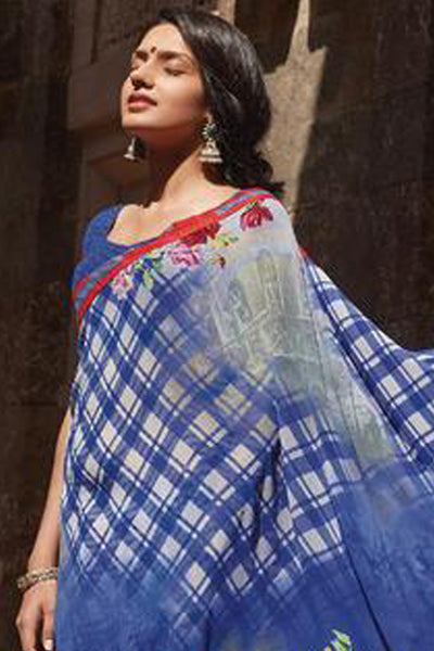Kabiree:atisundar   refined Printed Designer Saree with Border in Royal Blue  - 4495 - click to zoom