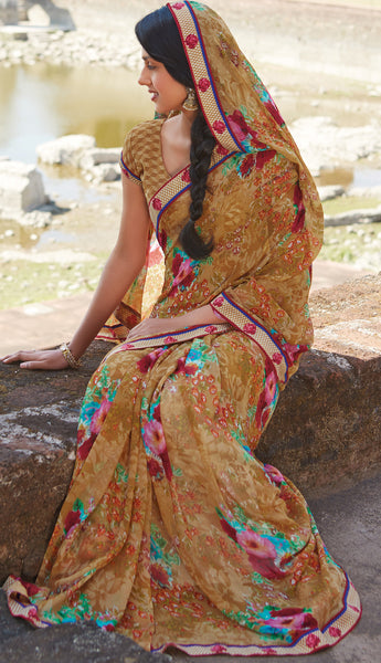 Kabiree:atisundar   cute Printed Designer Saree with Border in Sandy Brown  - 4503 - atisundar - 2 - click to zoom