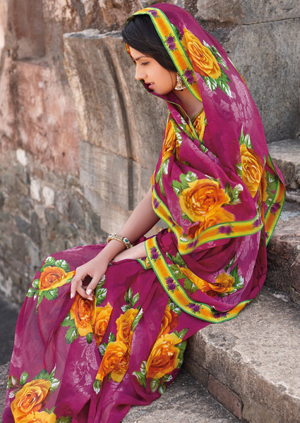Kabiree:atisundar   graceful Printed Designer Saree with Border in Magenta  - 4506 - click to zoom