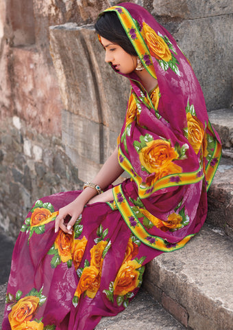 Kabiree:atisundar   graceful Printed Designer Saree with Border in Magenta  - 4506 - atisundar - 2 - click to zoom