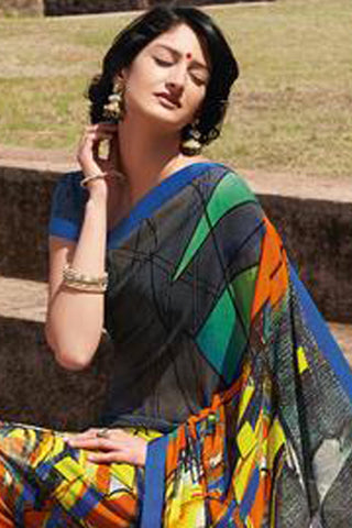 Kabiree:atisundar   Alluring Printed Designer Saree with Border in Multi  - 4509