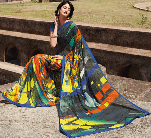 Kabiree:atisundar   Alluring Printed Designer Saree with Border in Multi  - 4509 - atisundar - 3 - click to zoom