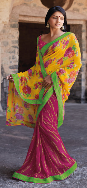 Kabiree:atisundar   Great Printed Designer Saree with Border in Yellow  - 4511 - atisundar - 2 - click to zoom