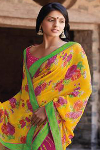 Kabiree:atisundar   Great Printed Designer Saree with Border in Yellow  - 4511 - click to zoom