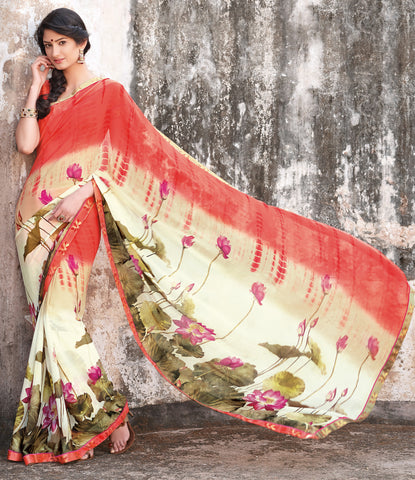 Kabiree:atisundar   Awesome Printed Designer Saree with Border in Light Orange  - 4516 - atisundar - 2
