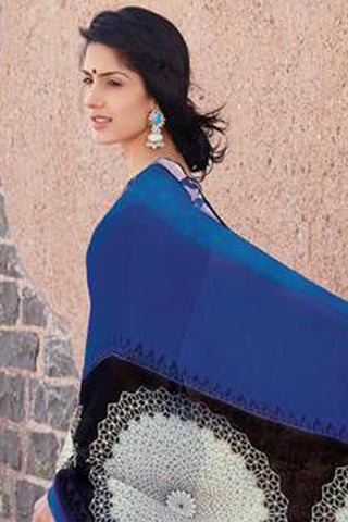 Kabiree:atisundar   refined Printed Designer Saree with Border in Royal Blue  - 4523