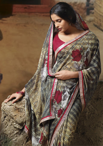 Jasmeen: Designer Printed Sarees:atisundar   Beautiful Designer Printed Saree in Gray  - 5127 - atisundar - 2