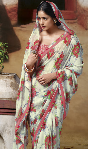 Jasmeen: Designer Printed Sarees:atisundar   magnificent Designer Printed Saree in Off White  - 5130 - click to zoom