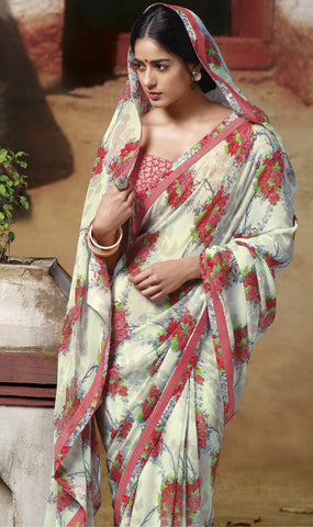 Jasmeen: Designer Printed Sarees:atisundar   magnificent Designer Printed Saree in Off White  - 5130 - atisundar - 2 - click to zoom