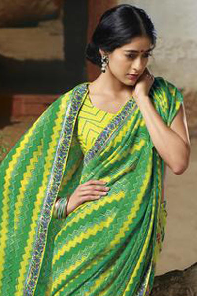 Jasmeen: Designer Printed Sarees:atisundar   cute Designer Printed Saree in Green  - 5131 - click to zoom