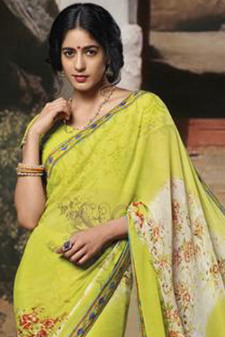 Jasmeen: Designer Printed Sarees:atisundar   pretty Designer Printed Saree in Yellow  - 5133