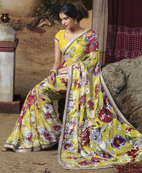 Jasmeen: Designer Printed Sarees:atisundar   Lovely Designer Printed Saree in Light Yellow  - 5136 - atisundar - 2 - click to zoom