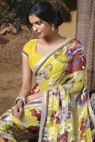 Jasmeen: Designer Printed Sarees:atisundar   Lovely Designer Printed Saree in Light Yellow  - 5136