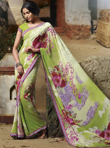 Jasmeen: Designer Printed Sarees:atisundar   wonderful Designer Printed Saree in Yellow  - 5139 - atisundar - 3 - click to zoom