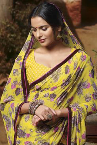Jasmeen: Designer Printed Sarees:atisundar   graceful Designer Printed Saree in Yellow  - 5143