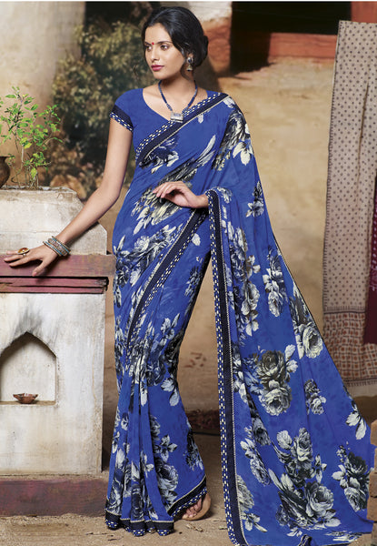 Jasmeen: Designer Printed Sarees:atisundar   charming Designer Printed Saree in Royal Blue  - 5146 - atisundar - 2 - click to zoom