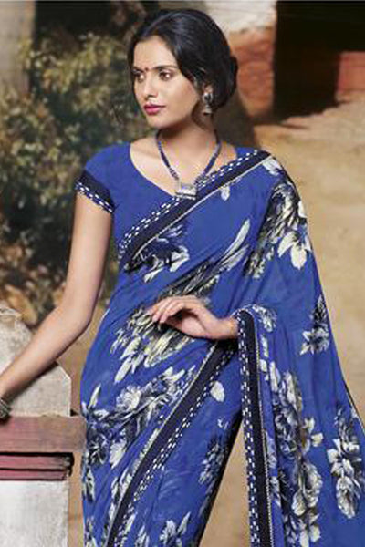 Jasmeen: Designer Printed Sarees:atisundar   charming Designer Printed Saree in Royal Blue  - 5146 - click to zoom