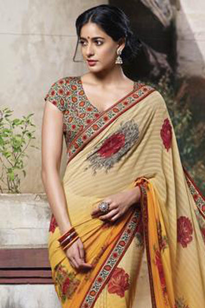Jasmeen: Designer Printed Sarees:atisundar   splendid Designer Printed Saree in Orange  - 5151 - click to zoom