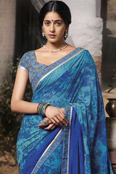 Jasmeen: Designer Printed Sarees:atisundar   pretty Designer Printed Saree in Blue  - 5157 - click to zoom