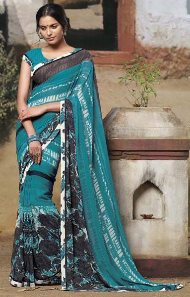 Jasmeen: Designer Printed Sarees:atisundar   superb Designer Printed Saree in Sea Green  - 5159 - atisundar - 2 - click to zoom