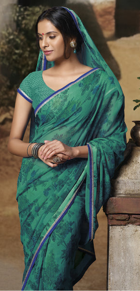 Jasmeen: Designer Printed Sarees:atisundar   excellent Designer Printed Saree in Sea Green  - 5165 - atisundar - 2 - click to zoom