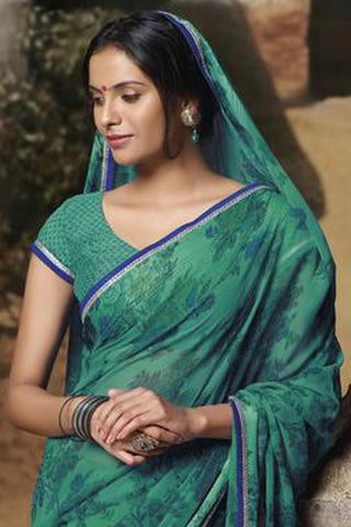Jasmeen: Designer Printed Sarees:atisundar   excellent Designer Printed Saree in Sea Green  - 5165