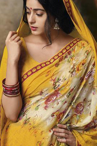 Jasmeen: Designer Printed Sarees:atisundar   Great Designer Printed Saree in Yellow  - 5167