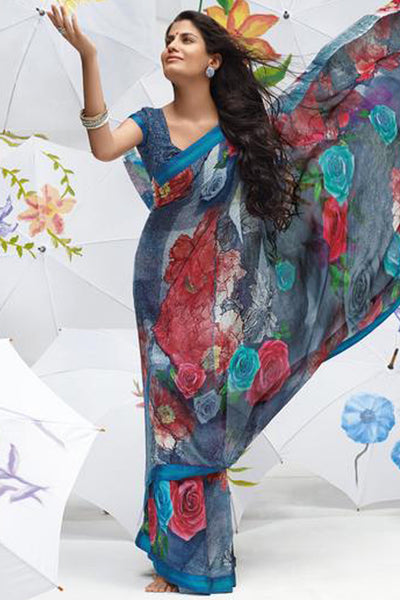 Jhoomta Sawan Designer Sarees:atisundar Jhoomta Sawan printed saree collection ravishing Designer Printed Saree in Multi Color  - 5297 - atisundar - 3 - click to zoom