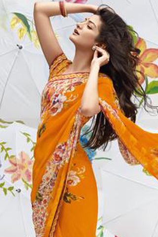 Jhoomta Sawan Designer Sarees:atisundar Jhoomta Sawan printed saree collection pretty Designer Printed Saree in Orange  - 5298 - atisundar - 4