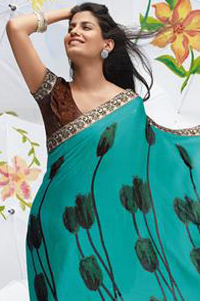 Jhoomta Sawan Designer Printed Saree Collection:atisundar   radiant Designer Printed Saree in Medium Turquoise  - 5301 - atisundar - 4 - click to zoom