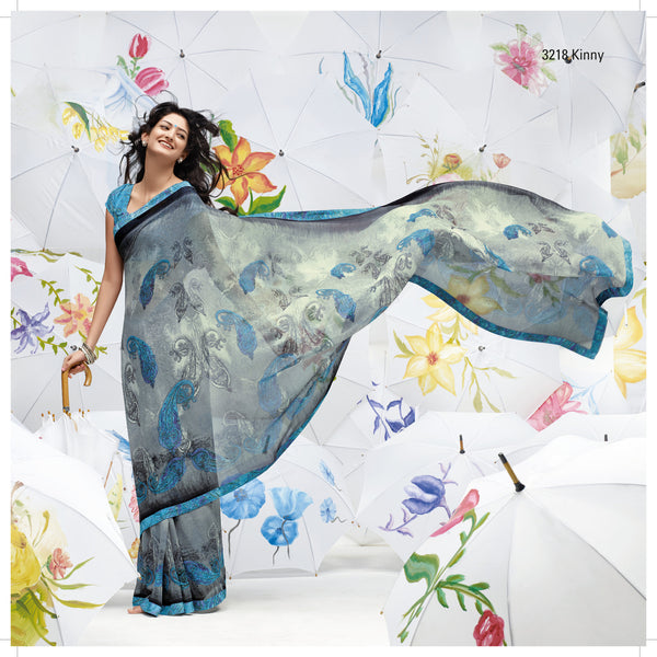 Jhoomta Sawan Designer Printed Saree Collection:atisundar   enticing Designer Printed Saree in Gray  - 5304 - atisundar - 2 - click to zoom