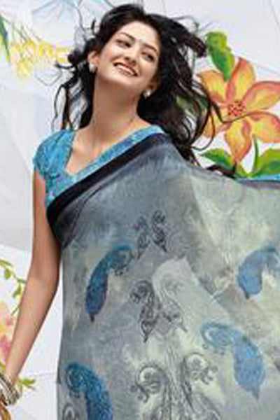 Jhoomta Sawan Designer Printed Saree Collection:atisundar   enticing Designer Printed Saree in Gray  - 5304 - click to zoom