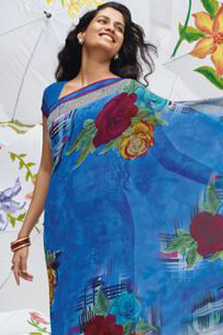 Jhoomta Sawan Designer Printed Saree Collection:atisundar   ravishing Designer Printed Saree in Steel Blue   - 5327 - atisundar - 4