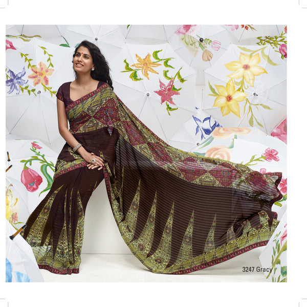 Jhoomta Sawan Designer Printed Saree Collection:atisundar   fair Designer Printed Saree in Dark Brown & Olive Green  - 5332 - atisundar - 3 - click to zoom