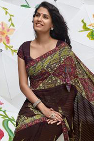 Jhoomta Sawan Designer Printed Saree Collection:atisundar   fair Designer Printed Saree in Dark Brown & Olive Green  - 5332 - atisundar - 4