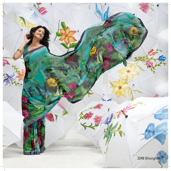 Jhoomta Sawan Designer Printed Saree Collection:atisundar   pretty Designer Printed Saree in Medium Turquoise & Multi  - 5333 - atisundar - 3 - click to zoom