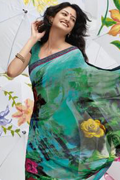 Jhoomta Sawan Designer Printed Saree Collection:atisundar   pretty Designer Printed Saree in Medium Turquoise & Multi  - 5333 - atisundar - 4 - click to zoom