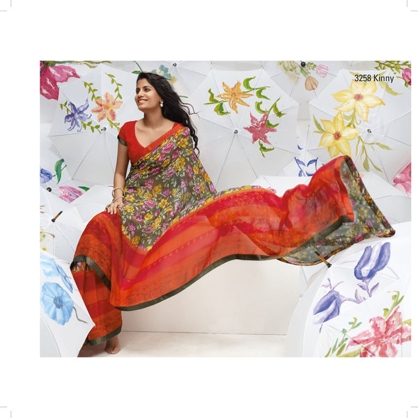 "Jhoomta Sawan Designer Printed Saree Collection:atisundar   Charismatic Designer Printed Saree in ""Orange  - 5342 - atisundar - 3 - click to zoom"