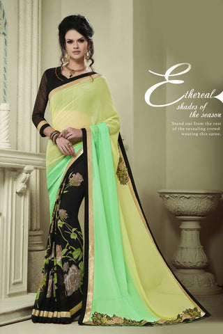 Designer Party wear Saree:atisundar Awesome Party wear Sarees with designer blouses and embroidered border in Green And Black  - 10752 - atisundar - 4 - click to zoom