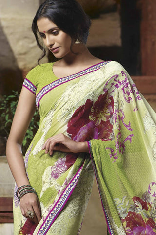 Jasmeen: Designer Printed Sarees:atisundar   wonderful Designer Printed Saree in Yellow  - 5139 - atisundar - 4