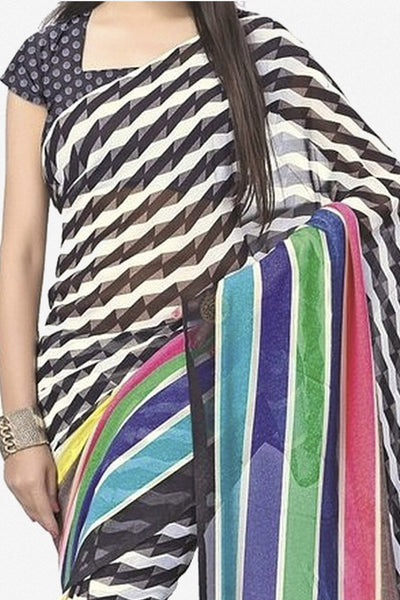 Designer Bhagalpuri Saree:atisundar Superb Designer Printed Saree in Faux Bhagalpuri Silk in Multi  - 11110 - atisundar - 2 - click to zoom