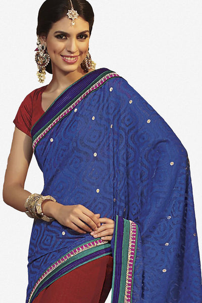 Rajguru Radiance:atisundar   Charismatic Designer Embroidery Saree in Blue  - 4626 - atisundar - 3 - click to zoom