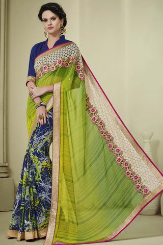 Designer Party wear Saree:atisundar magnificent Party wear Sarees with designer blouses and embroidered border in Green And Blue  - 10753 - atisundar - 4 - click to zoom