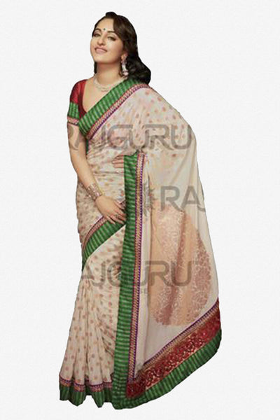 Rajguru Lotus Featuring Sonakshi:atisundar   enticing Bollywood Designer Saree in White  - 4541 - atisundar - 3 - click to zoom