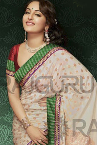 Rajguru Lotus Featuring Sonakshi:atisundar   enticing Bollywood Designer Saree in White  - 4541 - atisundar - 4
