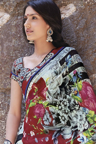 Kabiree:atisundar   fair Printed Designer Saree with Border in Red  - 4483 - atisundar - 4