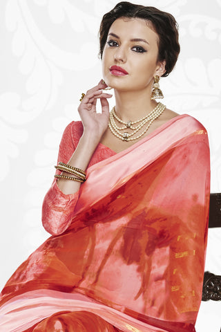 Designer Party wear Saree:atisundar Charismatic Designer Printed Saree with Fancy Border in Satin Georgette in Red And Pink  - 10765 - atisundar - 3 - click to zoom