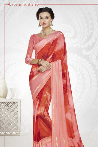 Designer Party wear Saree:atisundar Charismatic Designer Printed Saree with Fancy Border in Satin Georgette in Red And Pink  - 10765 - atisundar - 4 - click to zoom